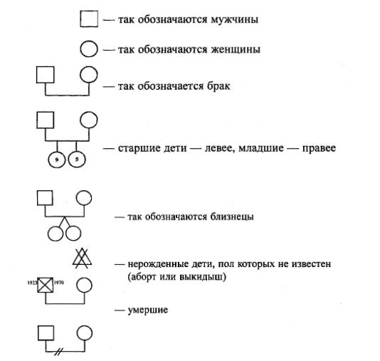 Символы генограммы 1